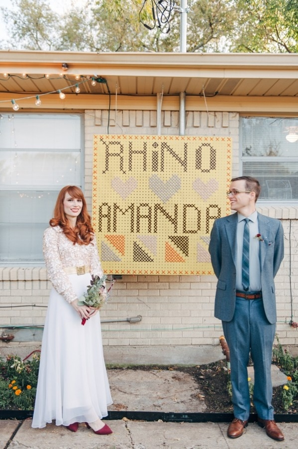 DIY Quirky Backyard Wedding Cross Stitch Pegboard Sign with Names