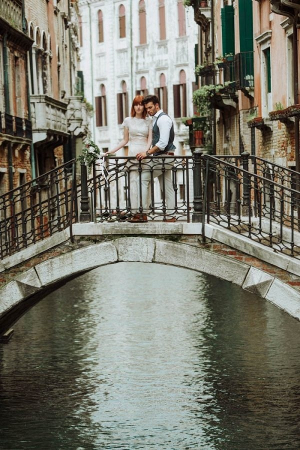 Gorgeous Venice Elopement Bridal Wedding Dress and Groom Style Inspiration