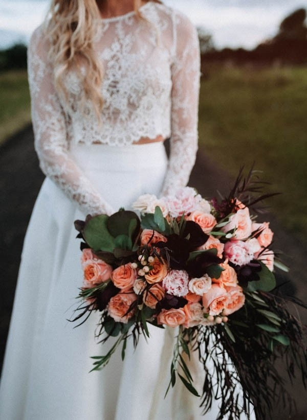 Lush Bohemian Bridal Style and Peach and Coral Bridal Bouquet