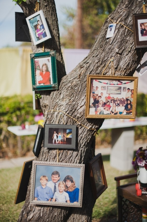 DIY Backyard Wedding Photo Frames on Tree