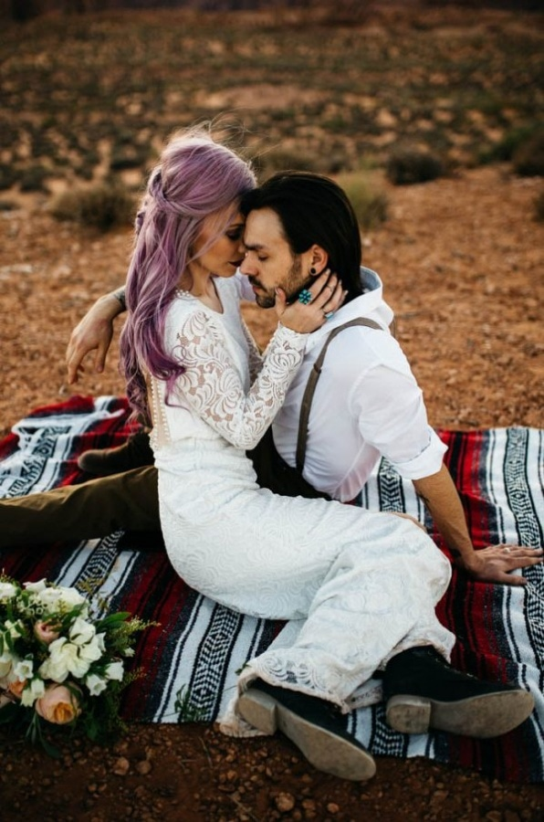 Alternative Arizona Elopement Bridal and Groom Style