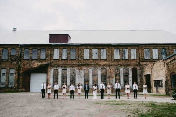 Modern Industrial Venue Wedding Bridal Party Style