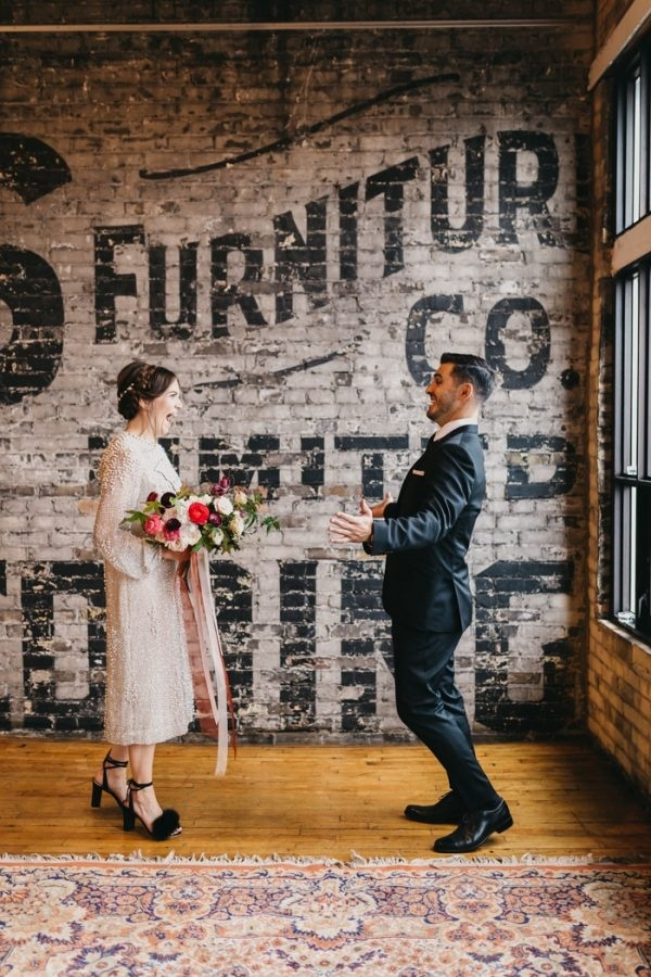 Toronto Loft First Look with Vintage Wedding Dress and Black Feather Heels