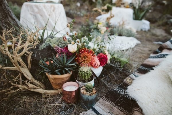 Boho Alternative VW Bus Desert Elopement Succulent and Cacti Arrangement