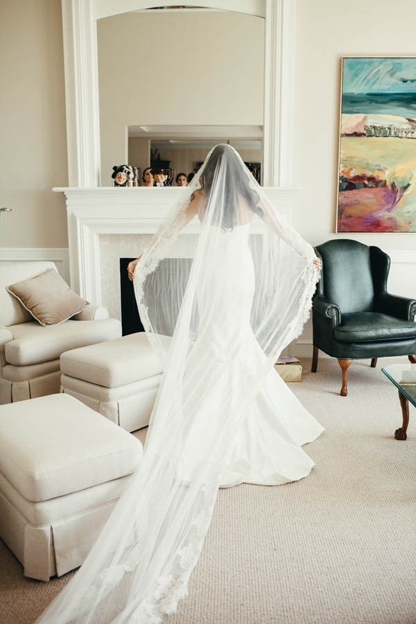 Elegant Glam Cathedral-Length Mantilla Veil