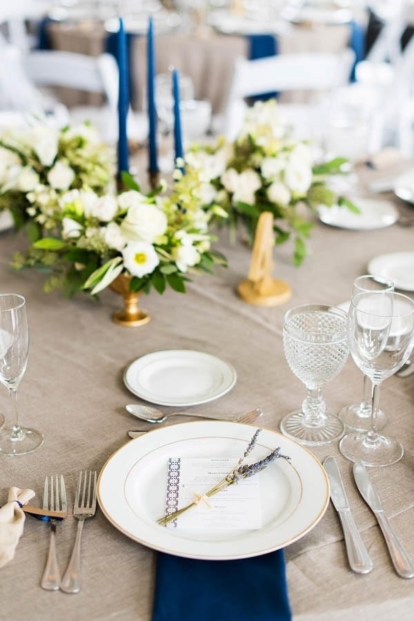 Elegant Reception Place Setting with Navy Blue Accents