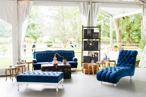 Elegant Navy Blue Wedding Reception Couch Seating Area