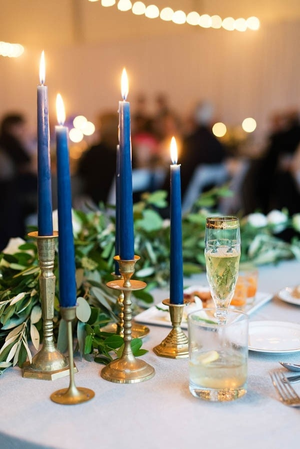 Elegant Navy Blue Candlesticks With Gold Candle Holders Reception Decor