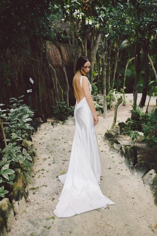 Elegant Tulum Windy Waterfront Wedding Bridal Silk Wedding Dress