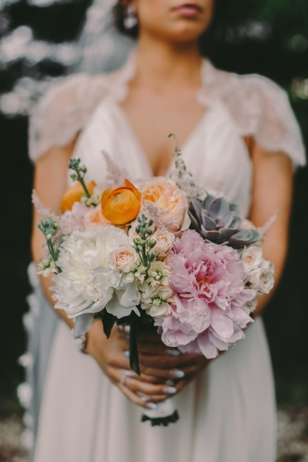 Elegant Whimsical Orange and Light Pink Bridal Bouquet