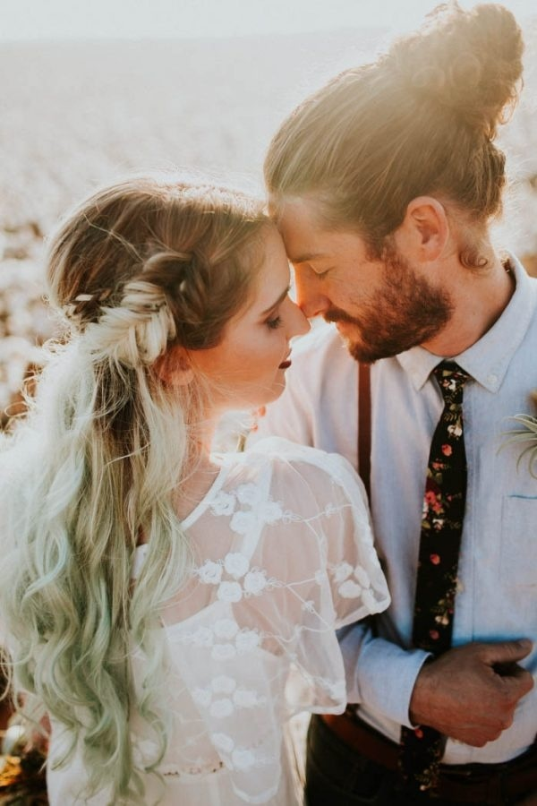 Alternative Cotton Field Elopement Braided Half Updo