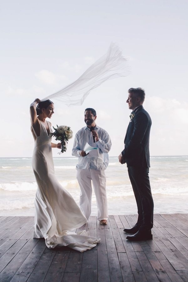 Elegant Tulum Windy Waterfront Wedding Ceremony Moment