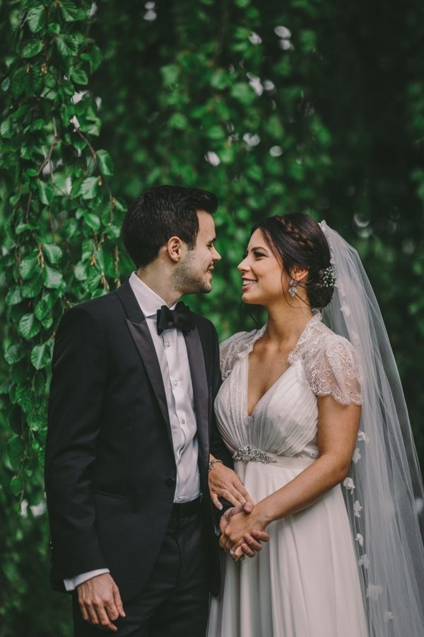 Elegant Whimsical Garden Bride and Groom Portrait