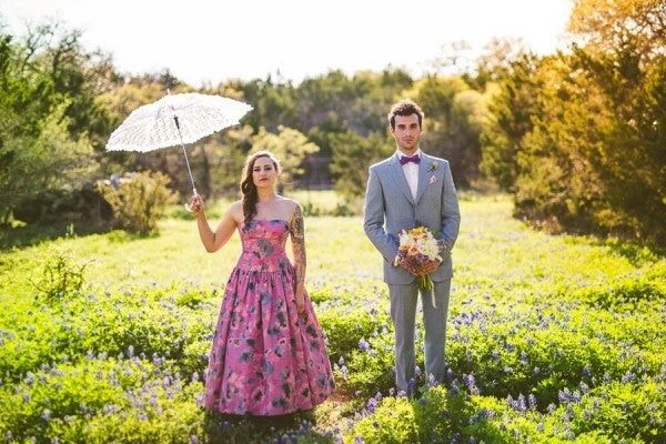 Alternative Eclectic Hill Country Bride and Groom Portrait