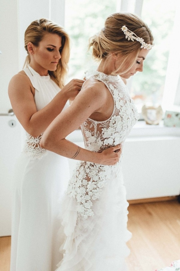 Elegant Boho Bridal Getting Ready Shot with Stunning Floral Gown