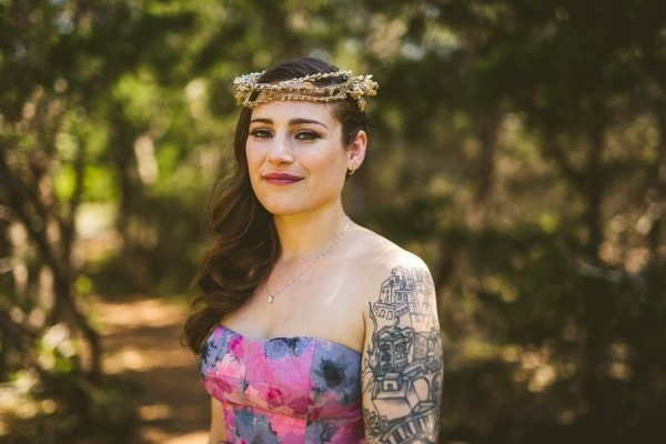 Alternative Eclectic Hill Country Bride Portrait with Bridal Halo