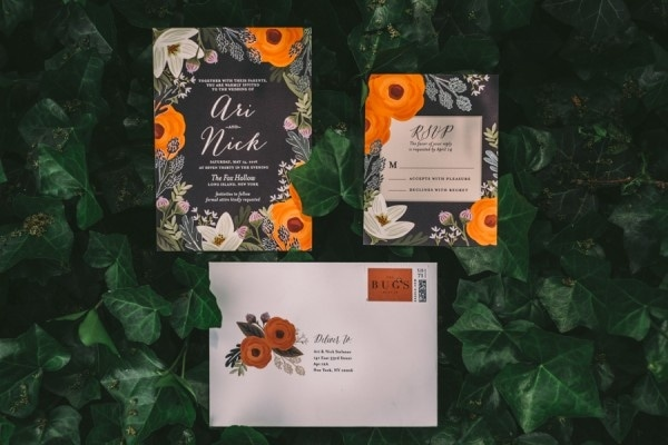 Elegant Whimsical Orange Floral Invitations