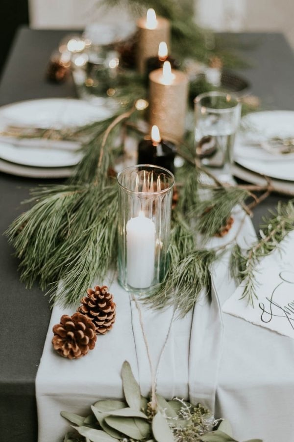 Winter Table Runner Inspiration with Pine Cones, Pine Needles, and Candles