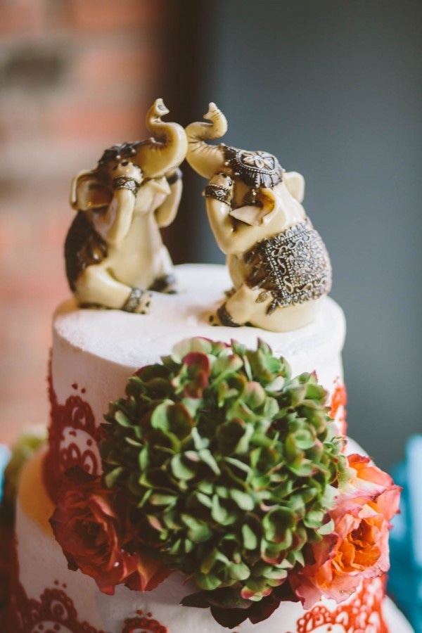Eastern Inspired Wedding Cake with Elephant Topper