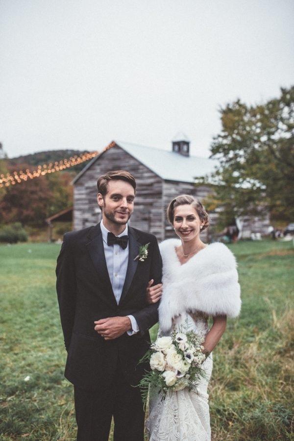 Rustic Glam Bride and Groom Winter Wedding