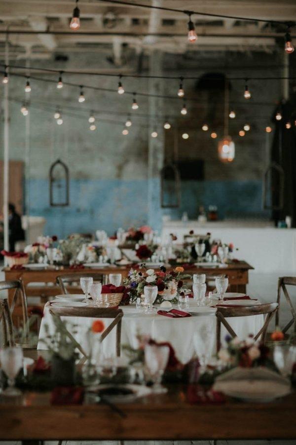 Rustic Industrial Glam Reception Tables In Warehouse Venue Wedding