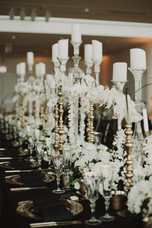 Modern Glam Gatsby-Inspired Candlestick and Floral Tablescape Display