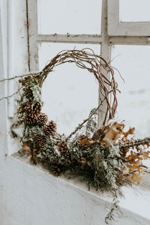 Green and Brown Floral Hoop with Pinecones