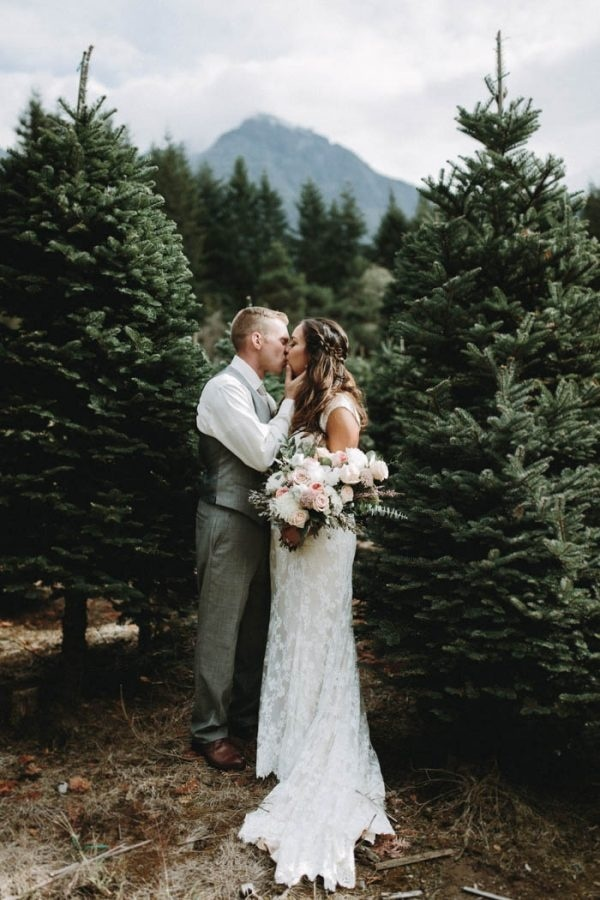 Christmas Tree Farm Weddings.Kissing In A Christmas Tree Farm Wedding Inspiration Board