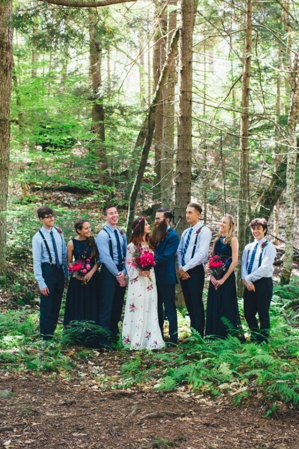 Navy and Dark Pink Wedding Party Style