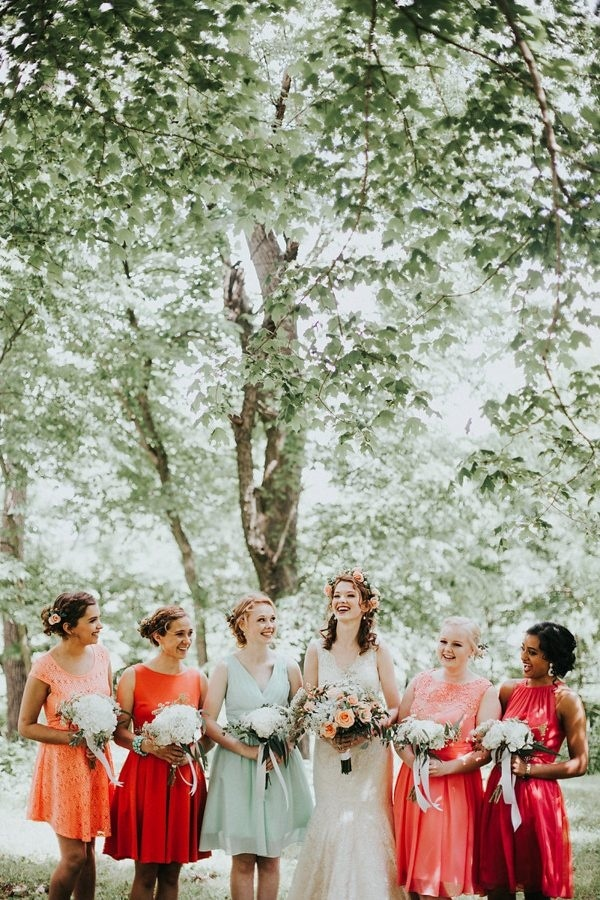 Coral and Mint Bridesmaids Dresses