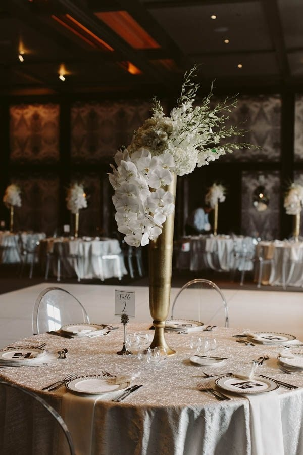 Super Glam Gold Table Center Piece with White Florals