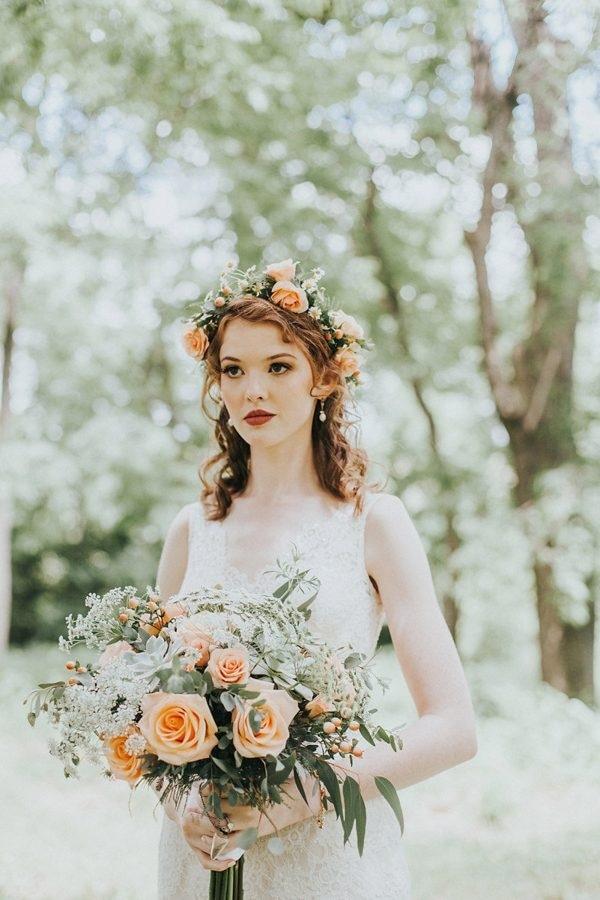 Flower Crown Wedding.Coral Bridal Bouquet And Flower Crown Wedding Inspiration Board