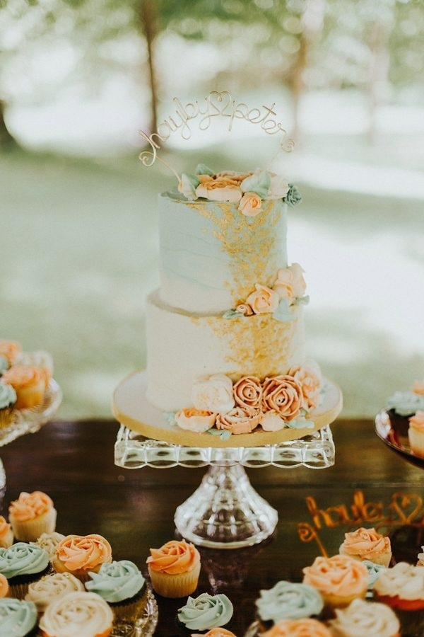 Coral and Mint Wedding Cake and Cupcakes