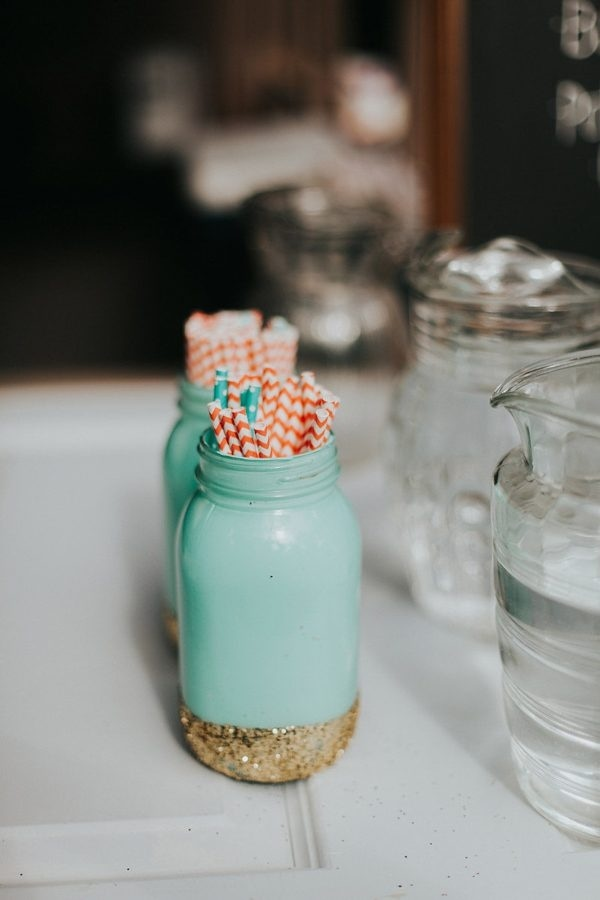 Mint and Gold Painted Mason Jar Holding Coral Striped Straws