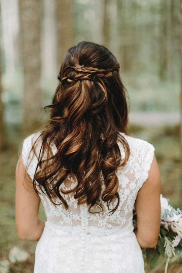 Half Up Bridal Hairstyle With Loose Curls And Braided Crown Wedding Inspiration Board Junebug Weddings