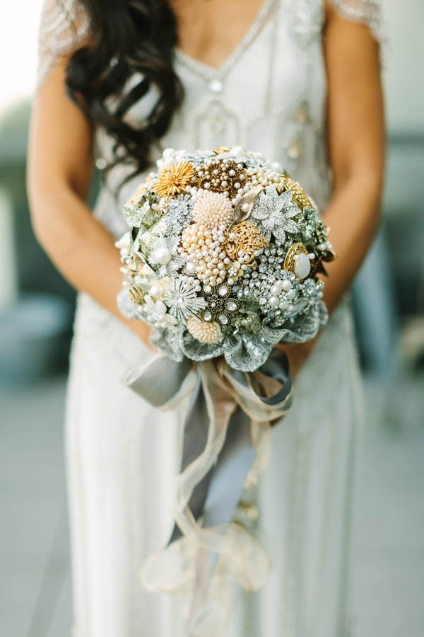White Silver Gold Metallic Bridesmaid Bouquet