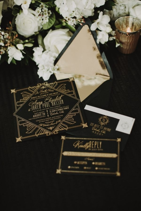 Modern Glam Black and Gold Wedding Stationary Set