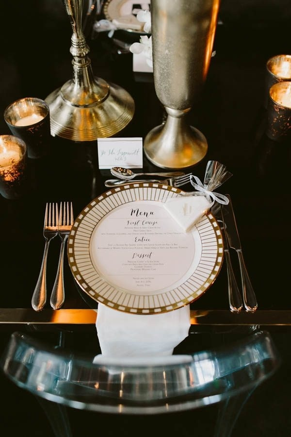 Modern Glam Ballroom Reception Gold Table Place Setting