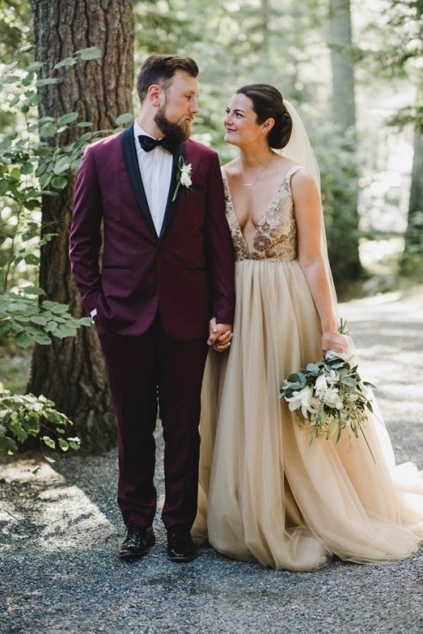 Maroon Groom Suit + Champagne Bridal Gown