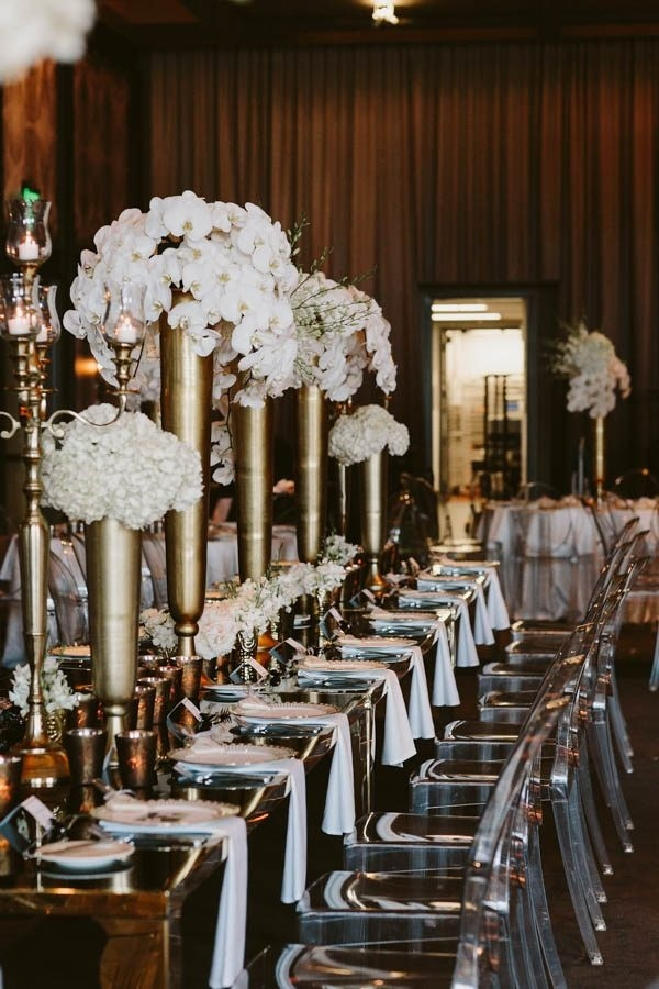 Modern Glam Ballroom Reception Table and Chairs