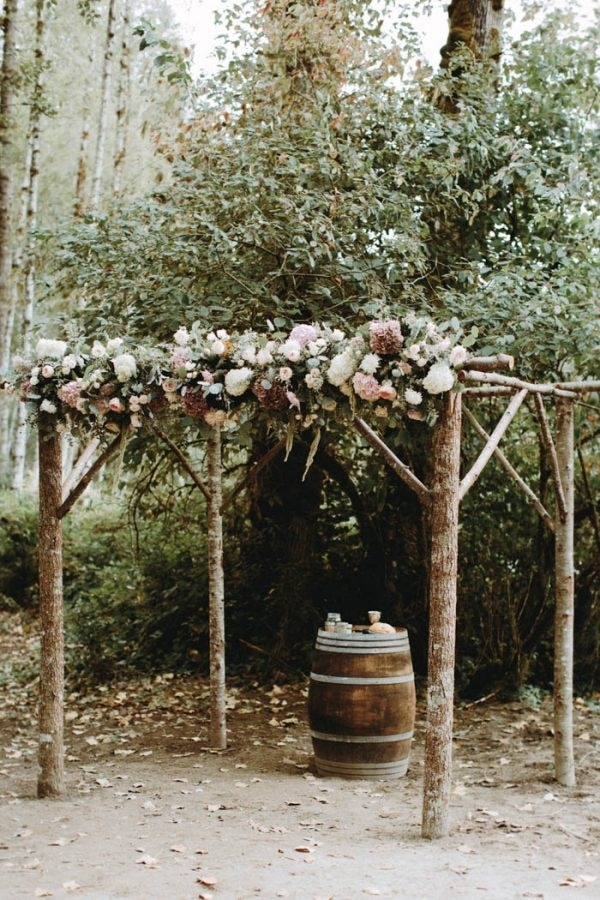 DIY Rustic Ceremony Arch with Pink and White Roses