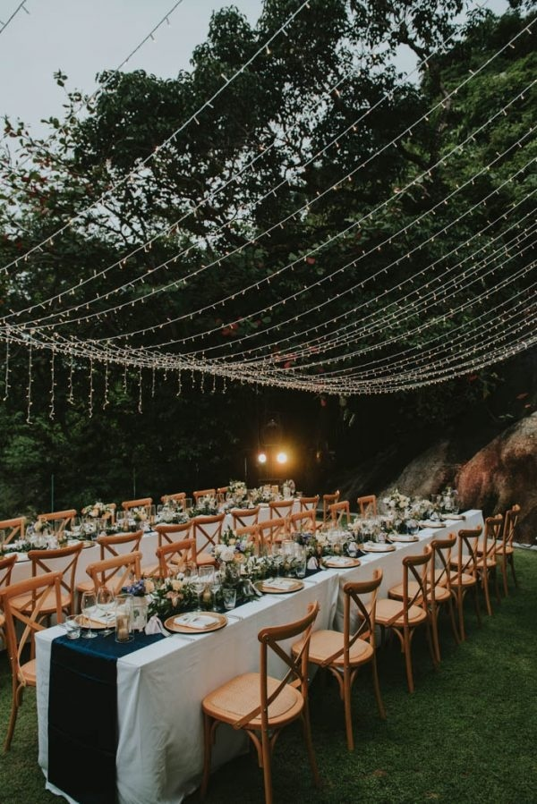 Rustic Glam Beach Reception Table and Twinkling Light Decor