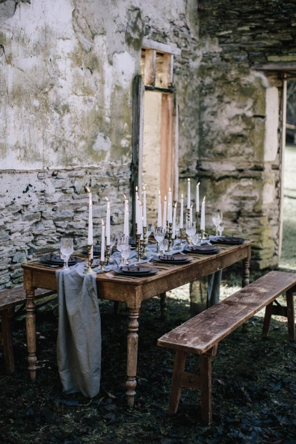 Moody and Rustic Winter Wedding Inspiration Reception Table