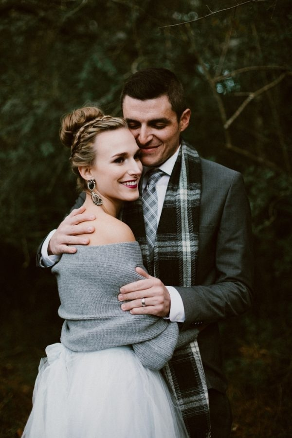 Fashionably Cozy Winter Wedding Bride and Groom Style