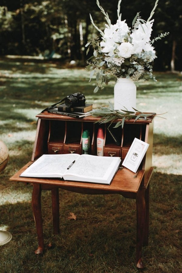 DIY Guestbook Table Made From Old Writing Desk