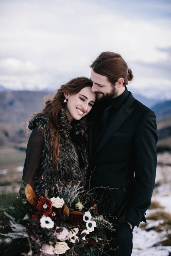 Modern and Moody Bride and Groom Winter Wedding Style