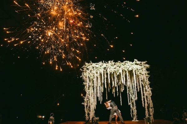 Super Glam Fireworks and Floral Arbor First Dance Photo