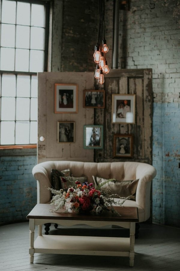 Rustic Industrial Glam Reception Seating Area and Photo Display