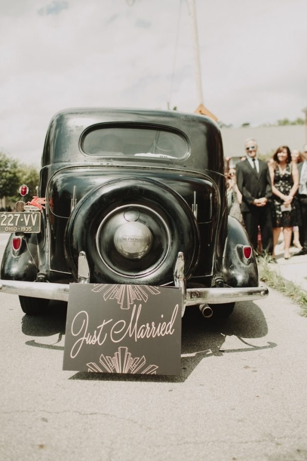 Vintage Glam Get-Away Studebaker Car with Just Married Sign