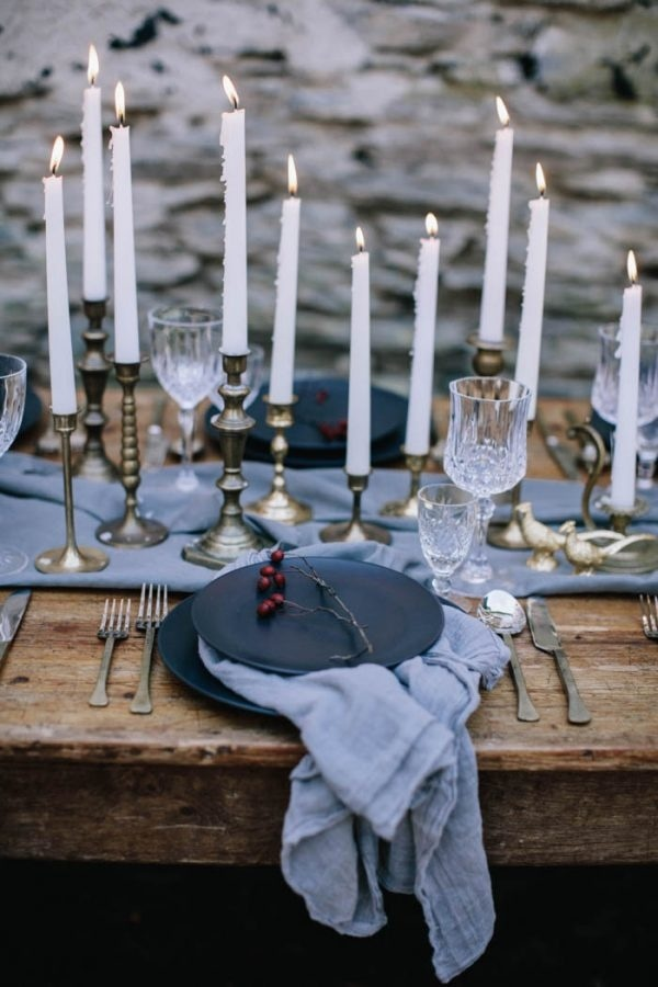 Romantic and Moody Blue and Gold Table Decor